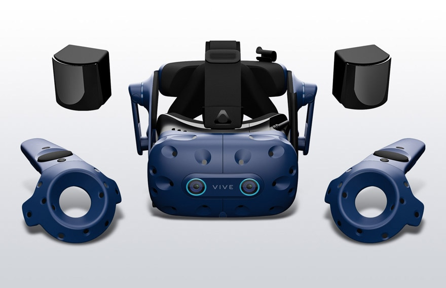 VIVE Pro Eye Office headset, two base stations, and two controllers