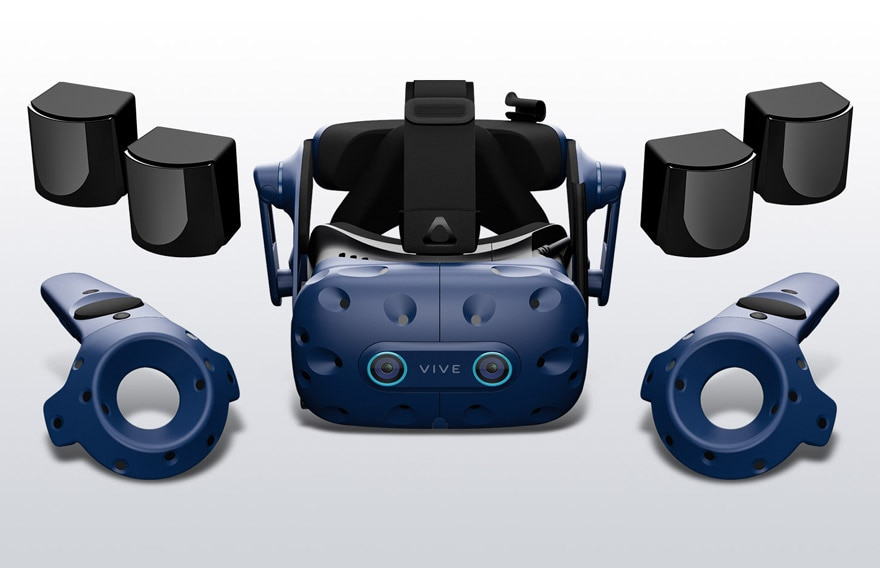 VIVE Pro Eye Office Arena Bundle including headset, four base stations, and two controllers