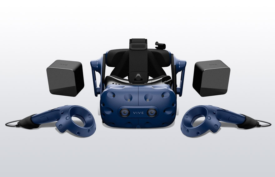 VIVE Pro Secure headset, two base stations, and two controllers
