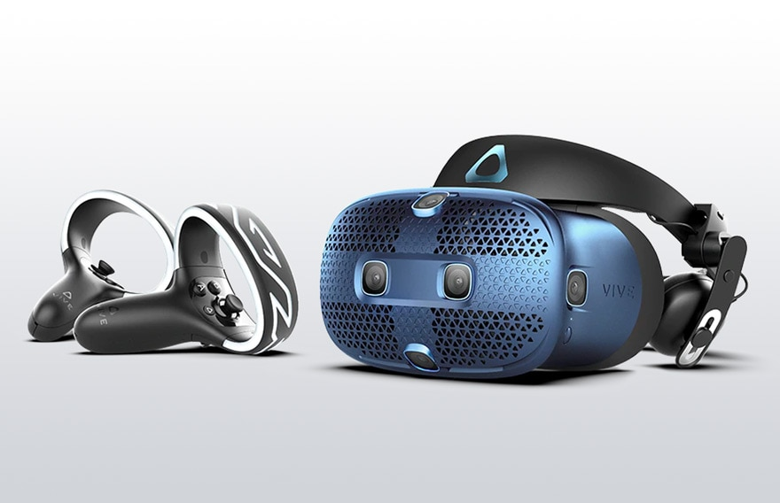 VIVE Cosmos headset and two controllers