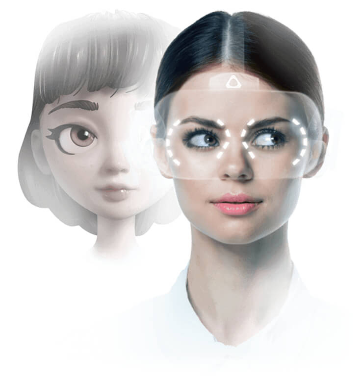 Depiction of a virtual avatar's eyes tracking with the user's glance