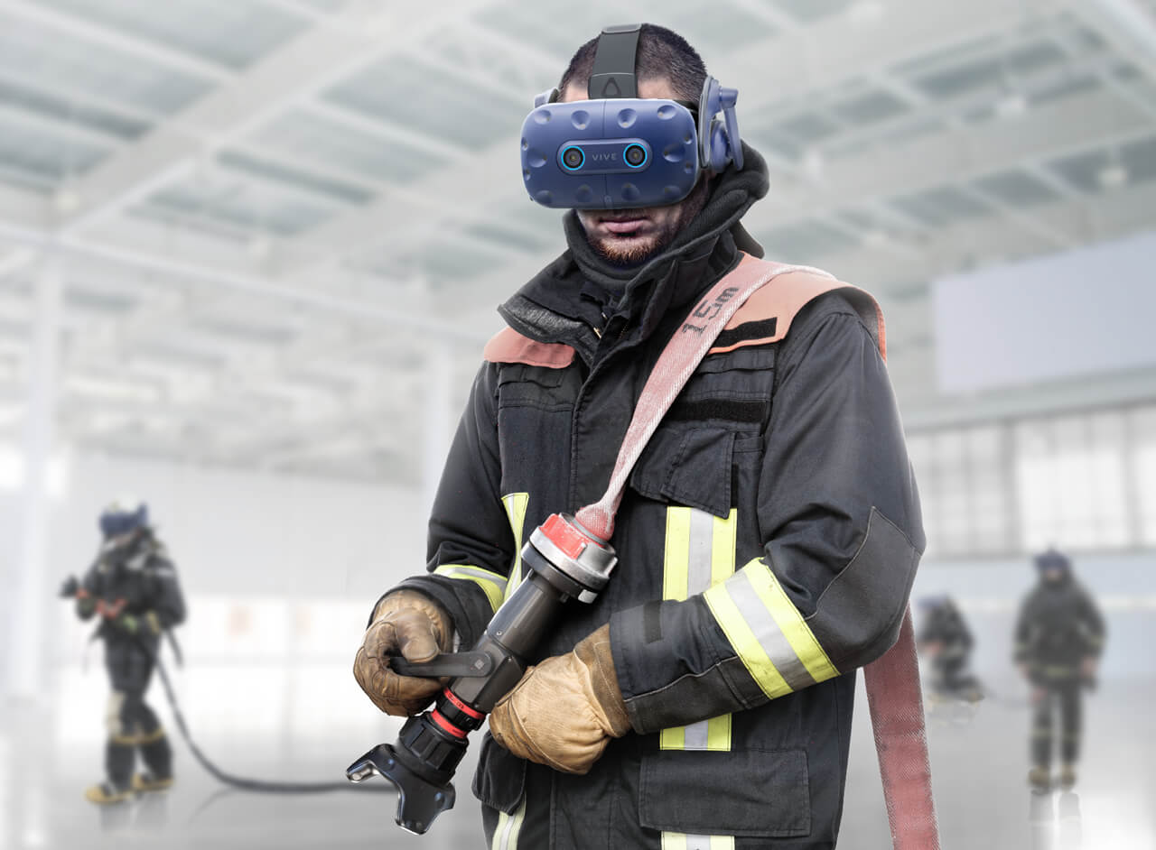 A fire fighter wearing a Pro Eye Office HMD