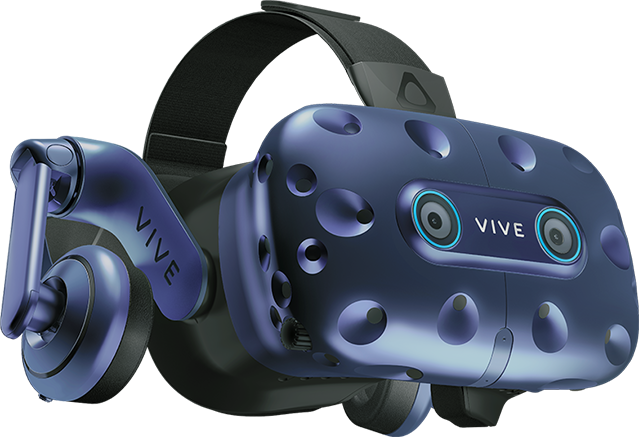 Vive Pro Eye seen from eye level and at an angle.